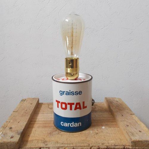 Lampe style industriel ancien pot de graisse total
