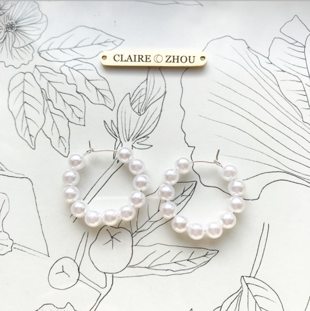 Boucles d'oreilles créoles Perle