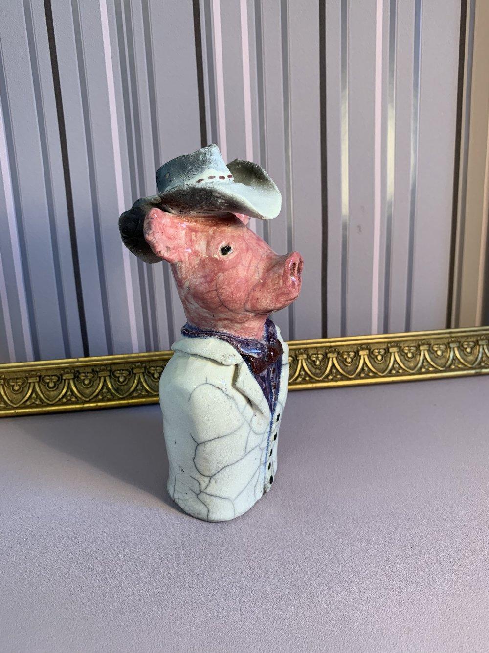 Sculpture cochon raku