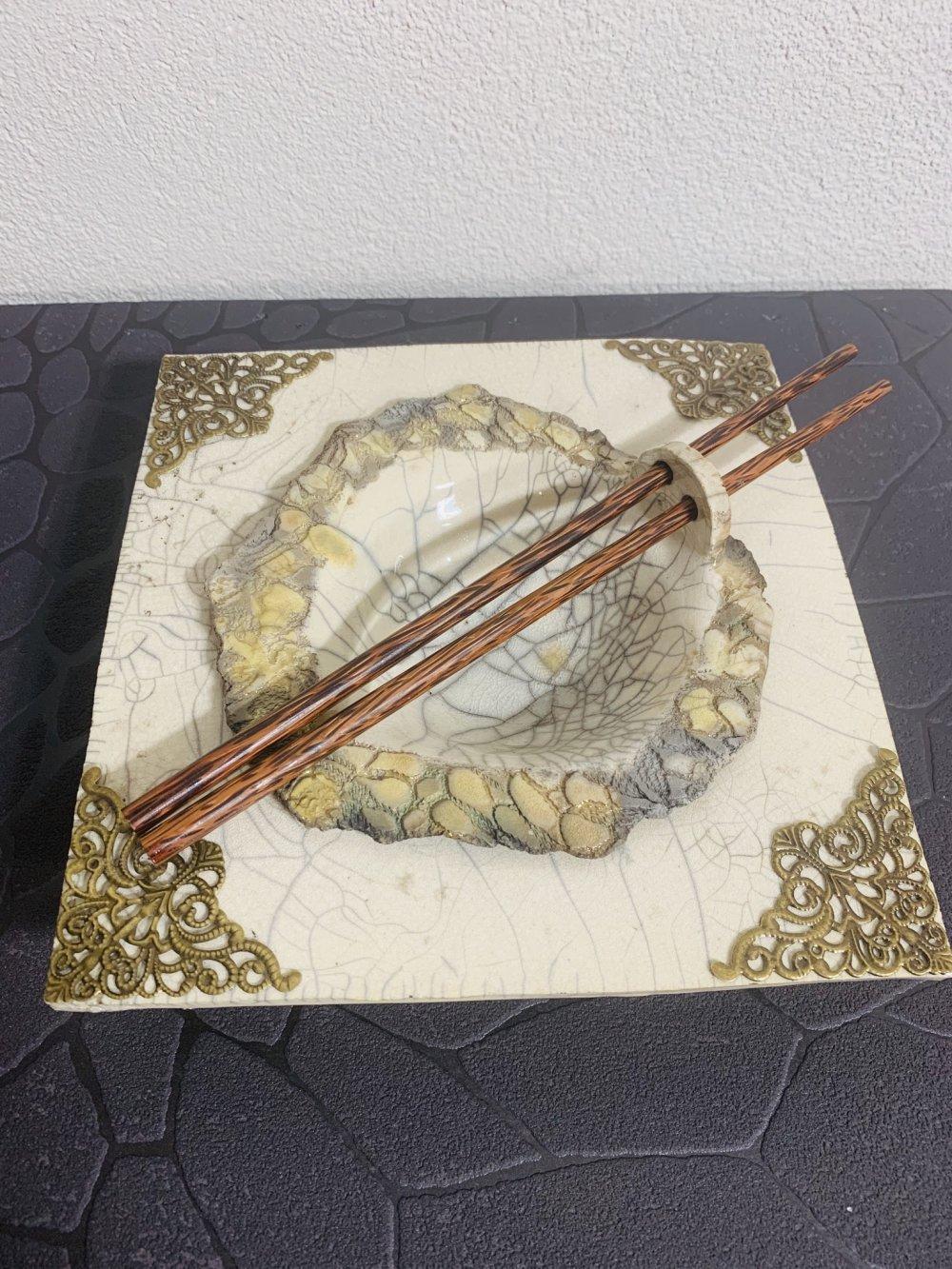 Assiette asiatique raku
