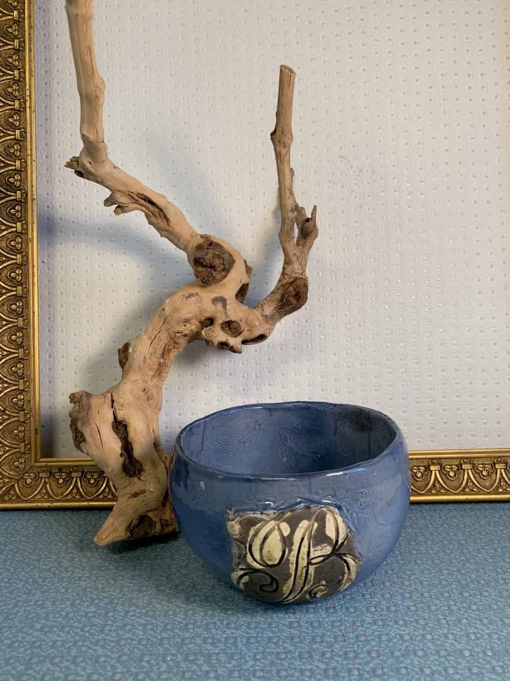 Bol en raku bleu