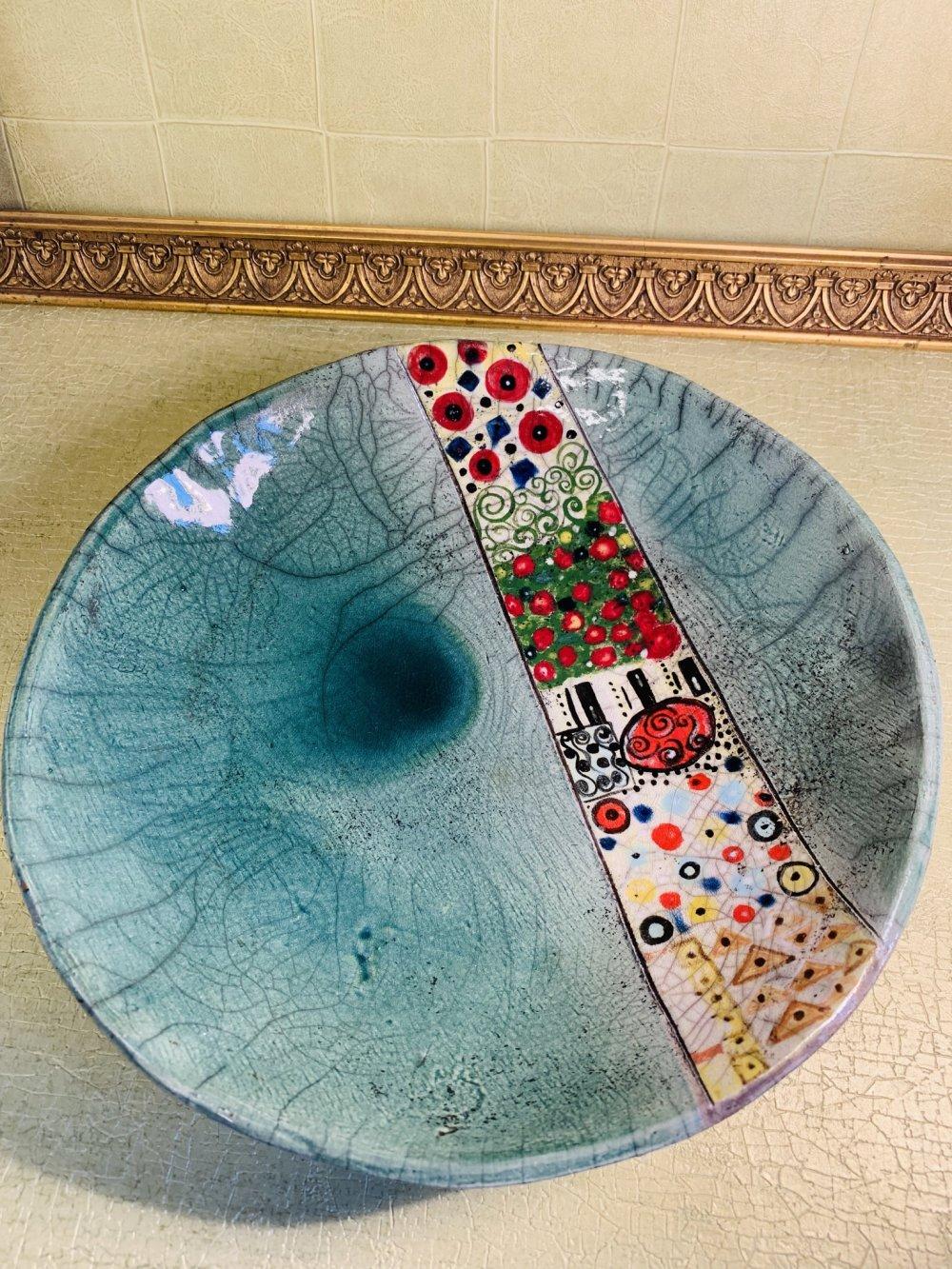 Assiette ronde en raku