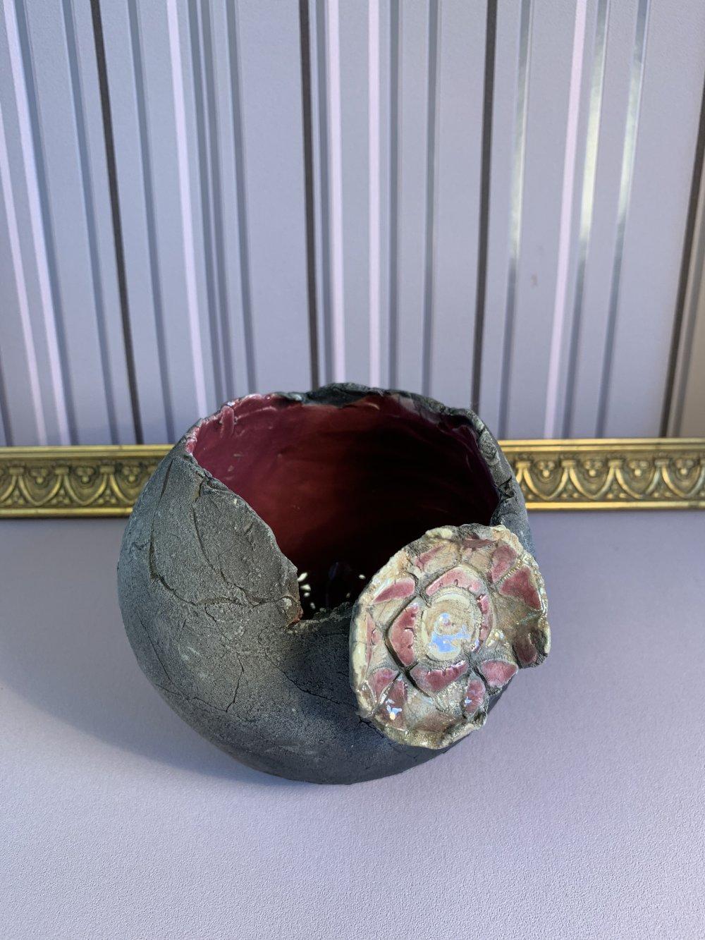 vase boule en céramique raku