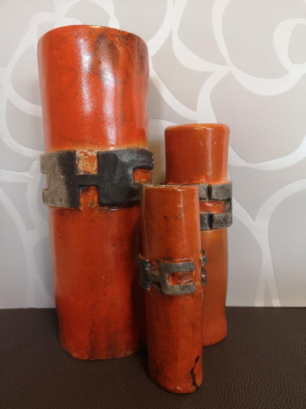 Vases trios céramique raku