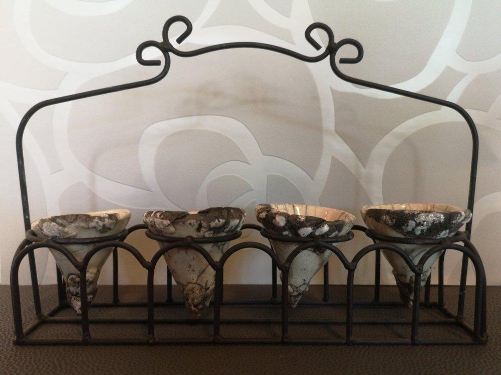 Vases en céramique raku support fer forgé