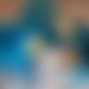 """Boîte cadeau """" turquoise nacré """" vide  peinte et couvercle décoré fait main"""