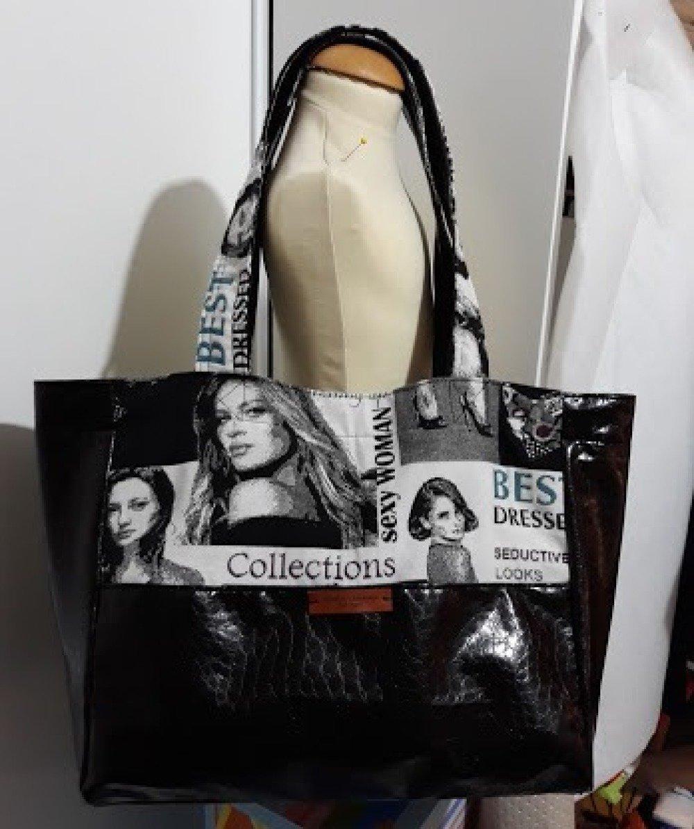 Sac tendance forme cabas souple en jacquard mode gris et noir et simili souple dessin croco noir pièce unique fait main
