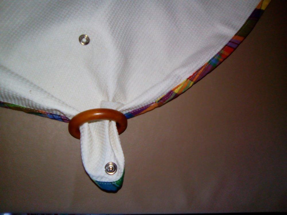 Torchon en coton petit nid d'abeille écru  brodé tête de cheval biais maison accroche anneau FAIT MAIN