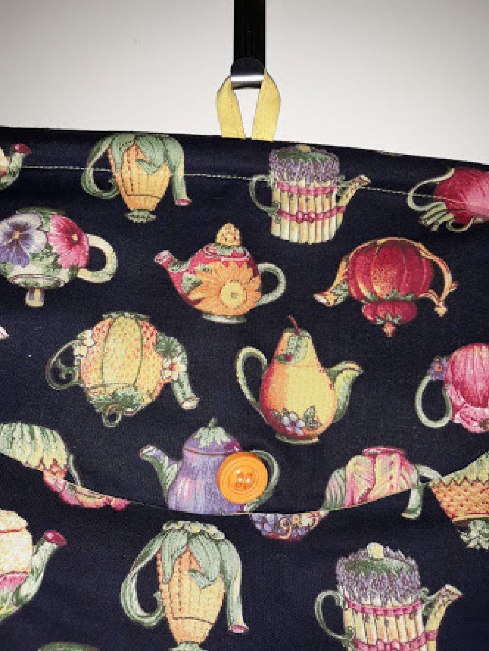 """Sac à sacs """"théière"""" en coton grand teint pur  patch de grande marque a accrocher FAIT MAIN"""