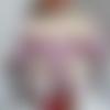 Vêtement de poupée  50 cm robe coton vichy rose et blanc à plastron   fait main