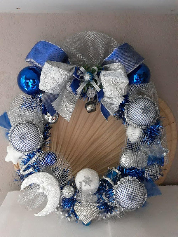 """Couronne de Noël et de l'avent """" Bleu  et argent """" FAIT MAIN pièce unique 40 cm de diamètre"""