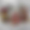 """Boule de noël """" rouge """" lot de 3 en pot pourri senteur douce de 5 cm en tissu précieux fait main"""