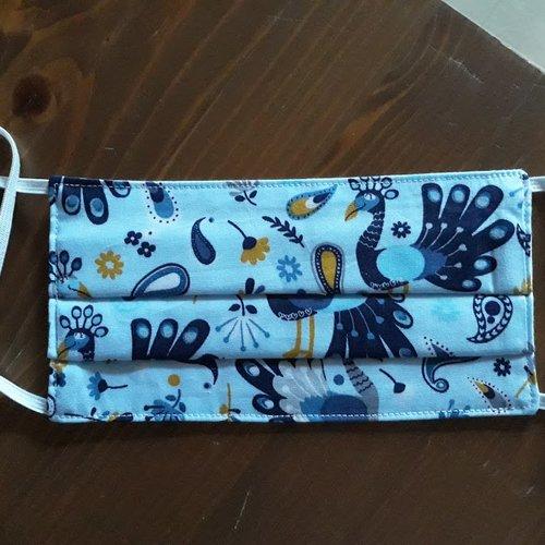 Masque de protection  lavable en 3 feuilles tissu,1  coton oeko-tex fantaisie,1   polyester,1  coton serré fait main