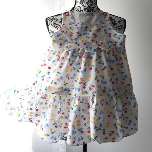 Robe enfant fille 3/4 ans coton rose & hubble collection à coquilles entièrement doublée  piéce unique fait mai