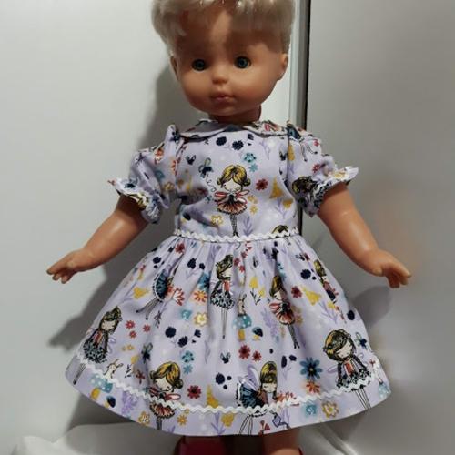 """Vêtement de poupée  45/50 cm robe """" fée """" en  coton oéko-tex mauve   fait main"""
