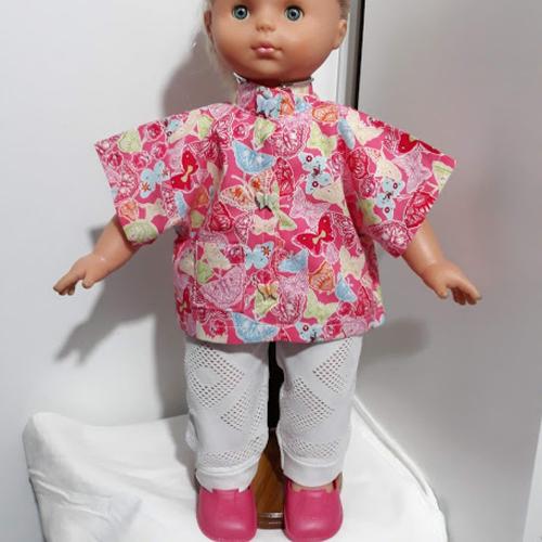 """Vêtement de poupée  45/50 cm ensemble """" papillon """" pantalon et chemise   fait main"""