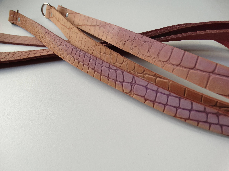 Lot de 3 lanières bandoulières de sac cuir souple 94cmx2cm