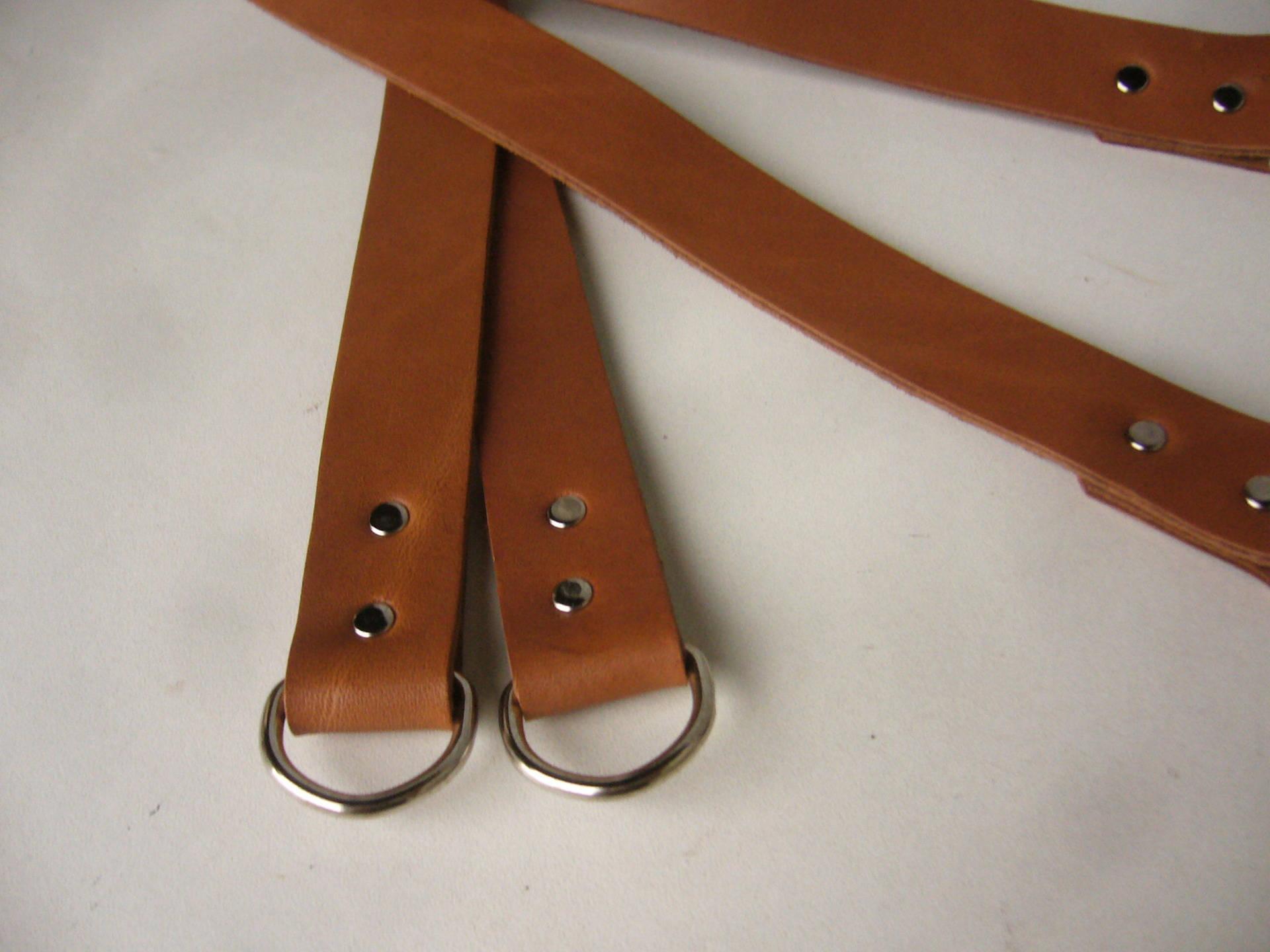 Anses poignées pour sac en cuir souple noisette 45x2 cm (paire)