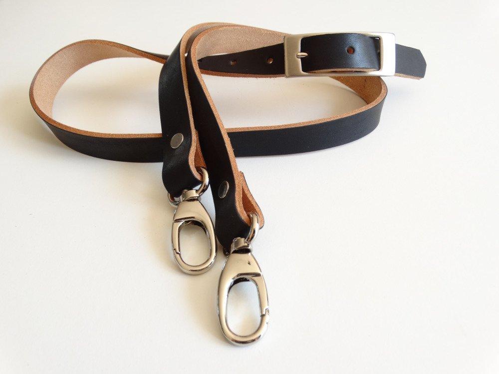Bandoulière réglable avec mousquetons pour sac en cuir noir