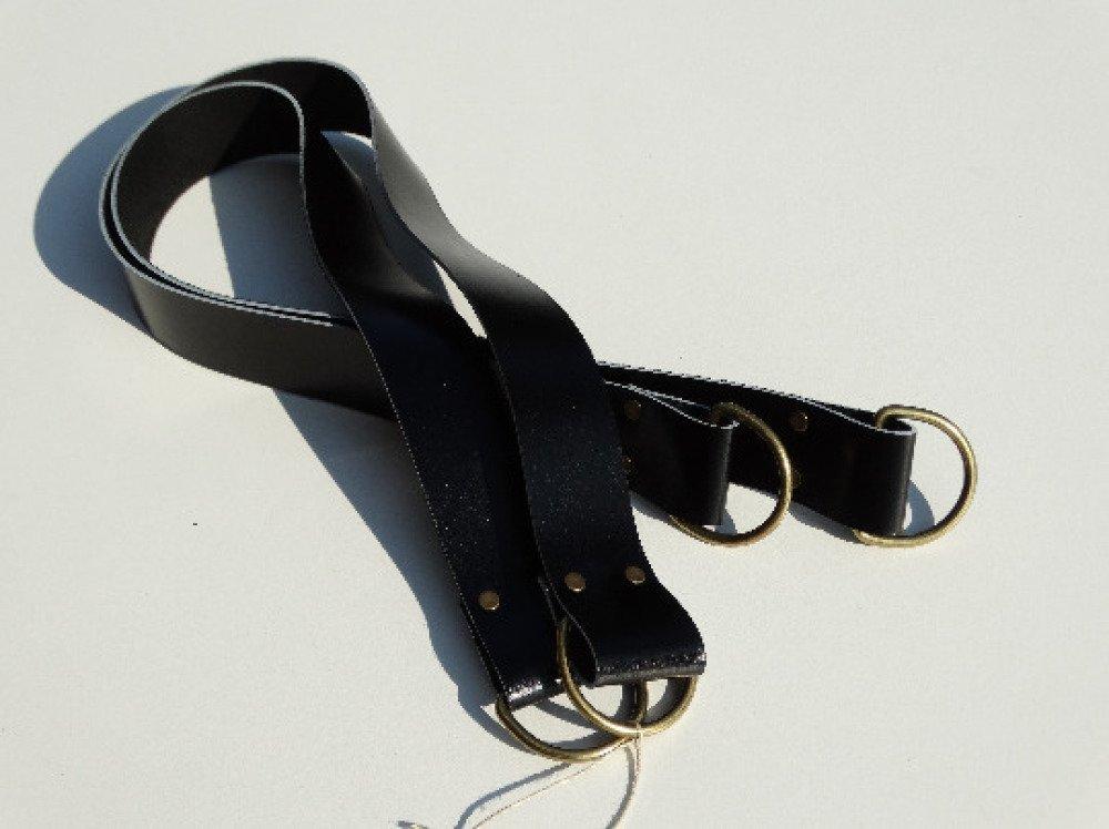 NOIR Anses larges en cuir pour sac 46x3cm