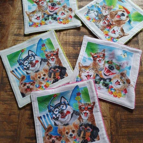 """Lot 5 lingettes lavables """"chiens et chats"""""""