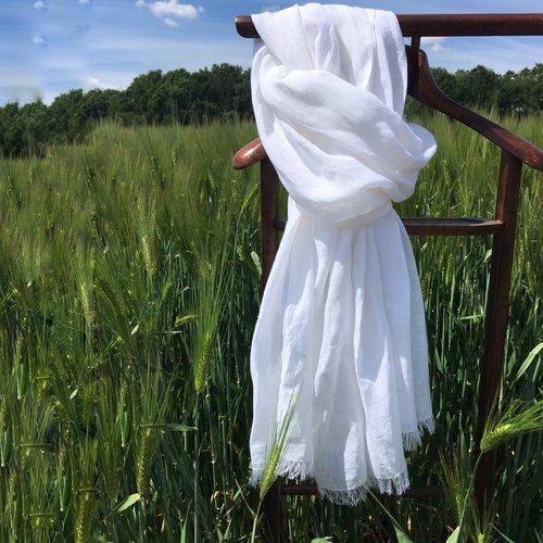 Longue écharpe en lin pour homme, 250 cm x 60 cm, plusieurs couleurs au choix