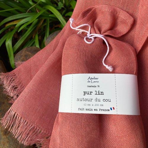 Écharpe mixte en lin, 200 cm x 60 cm, plusieurs couleurs au choix