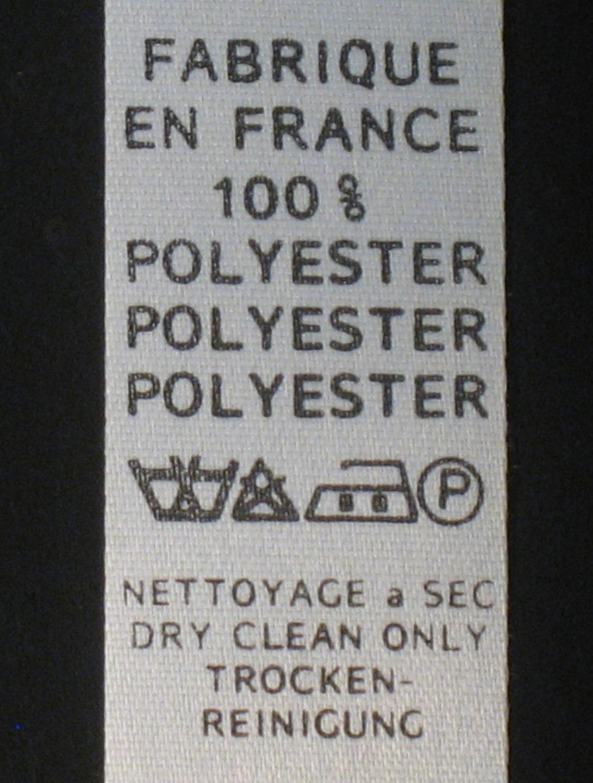 """Etiquettes de composition textile """"polyester nettoyage à sec"""", lot de 3 mètres"""