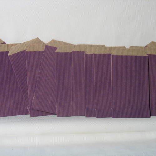 12 pochettes cadeaux en papier kraft, col. aubergine, 7/12 cm