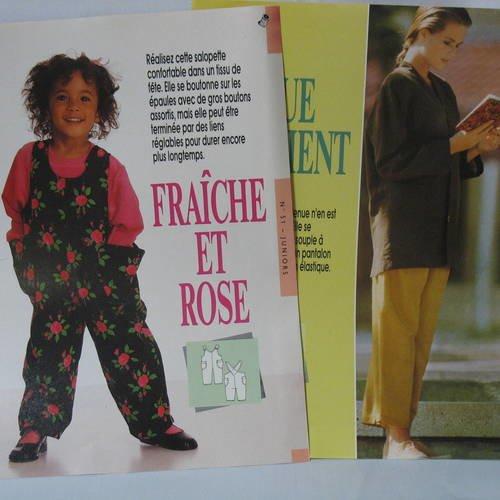 2 modèles : 1 salopette  fillette + 1 veste + pantalon pour femme, patrons recto/verso