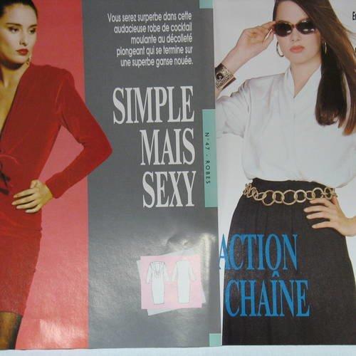 2 modèles femme  : 1 robe cocktail et un ensemble chemisier + jupe-culotte, patrons recto/verso