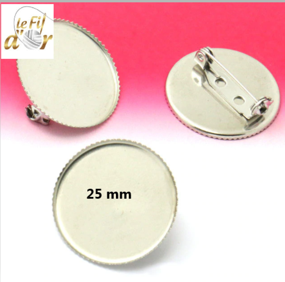 1 Broche Support Cabochon 25 mm Métal Argenté