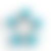 1 breloque pendentif-globe bulle en verre-etoiles bleu-