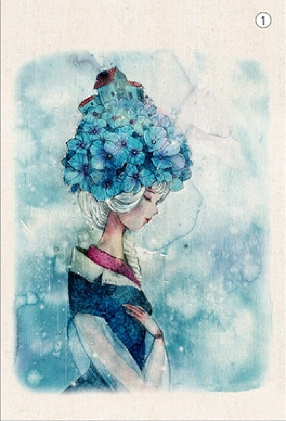 Coupon Tissu Patchwork -La Dame en Bleu- Tissu en Lin-