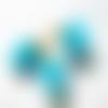 1 pompon - fausse fourrure bleu -