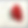 1 pompon pendentif - pompon gland en soie rouge-