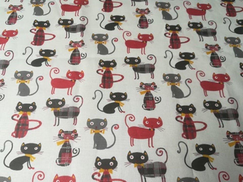 """coupon de tissu """"chats noirs et rouge"""""""