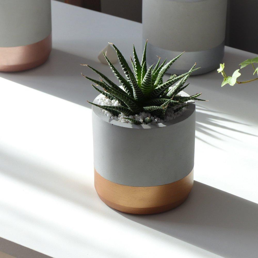 Pot de fleurs rond cuivré