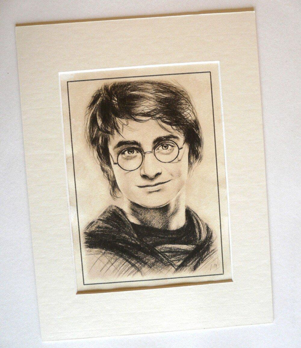 Harry Potter Reproduction Portrait Daniel Radcliffe sur papier d'art teinté