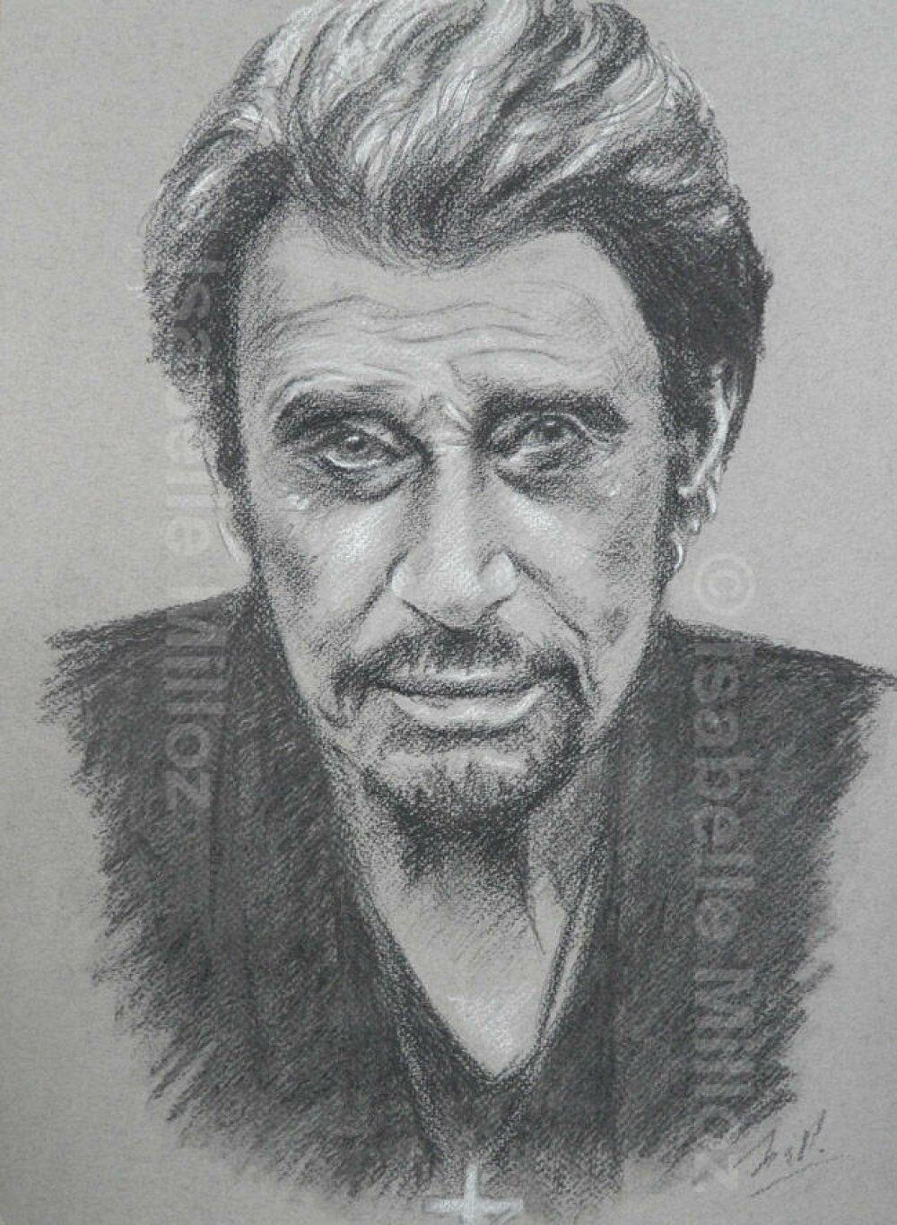 Johnny Hallyday Portrait Original 30x40 Cm Dessin A La Main