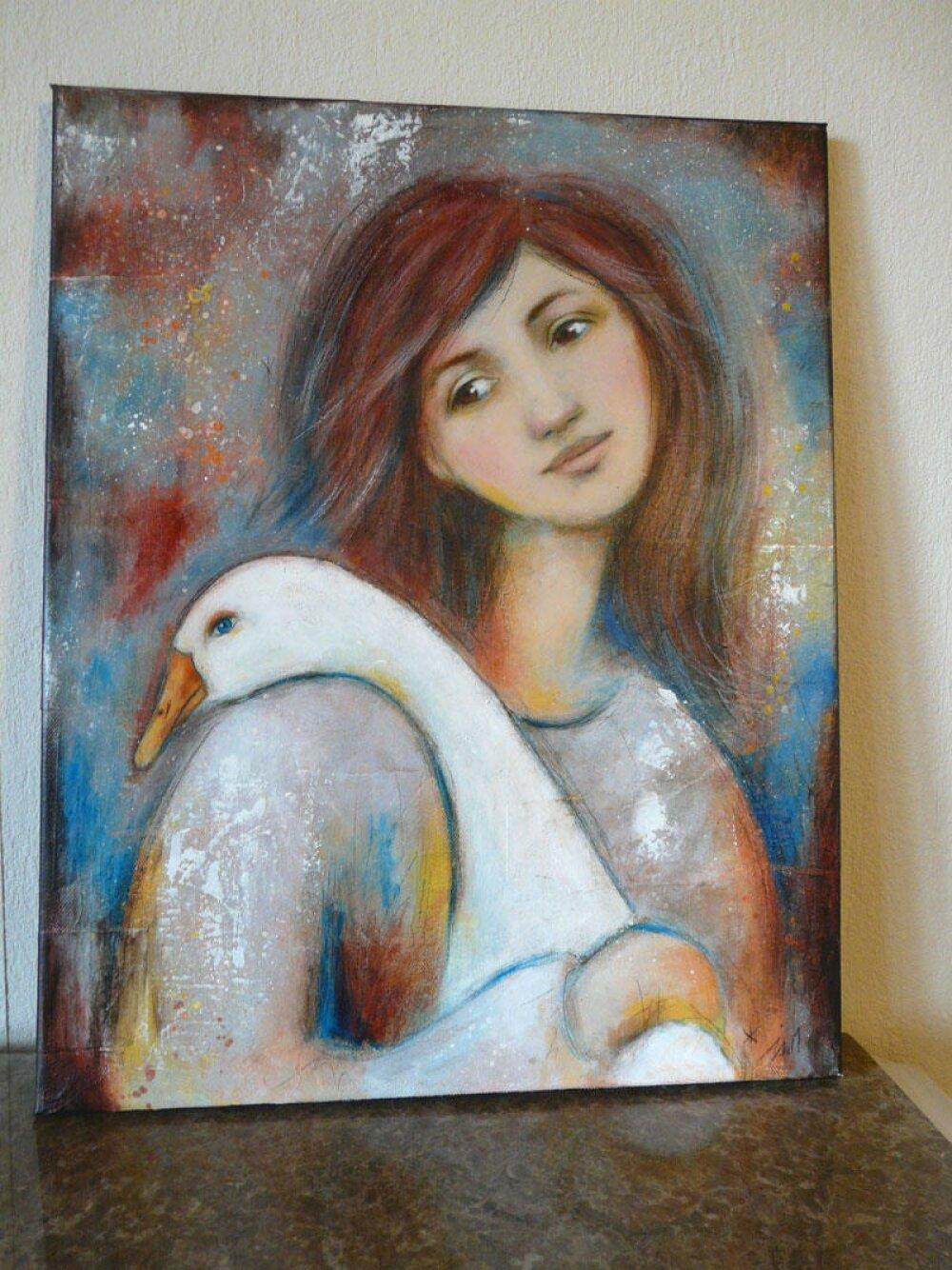 """Oie femme fille campagne , Peinture """"Avec mon oie""""  40x50cm"""