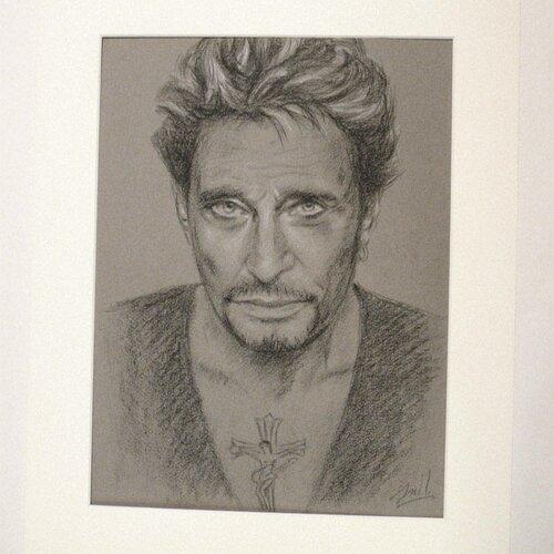 Johnny Hallyday Portrait Original 30x40 Cm Un Grand Marche
