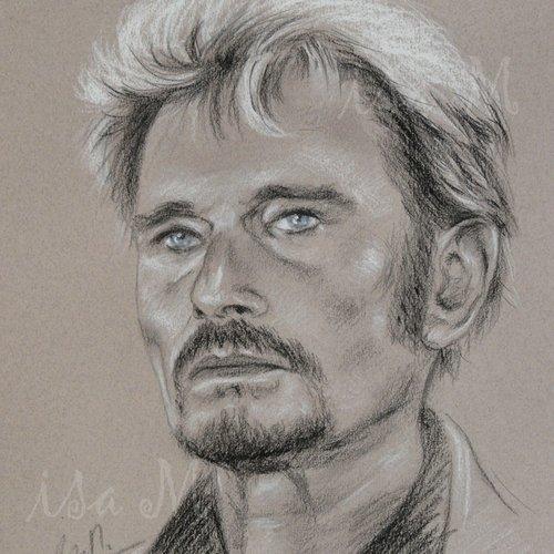 Johnny Hallyday Portrait Original Noir Et Blanc Yeux Bleus Un