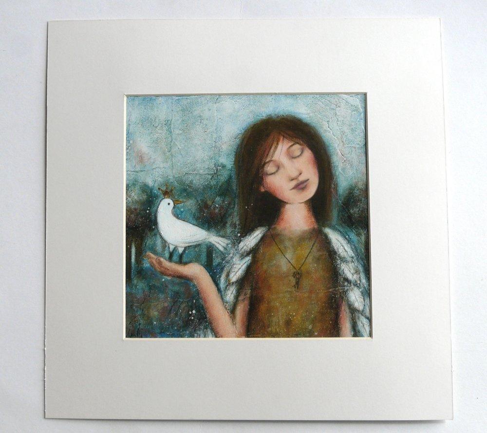 """Peinture jeune fille avec des plumes oiseau couronné """"Aussi libre que toi"""" + passe-partout 40x40 cm"""