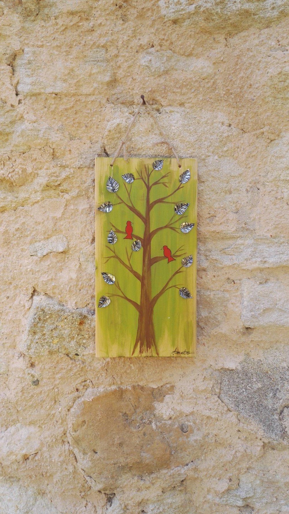 Tableau Peinture sur Bois Arbre et Oiseaux orné de feuilles en métal