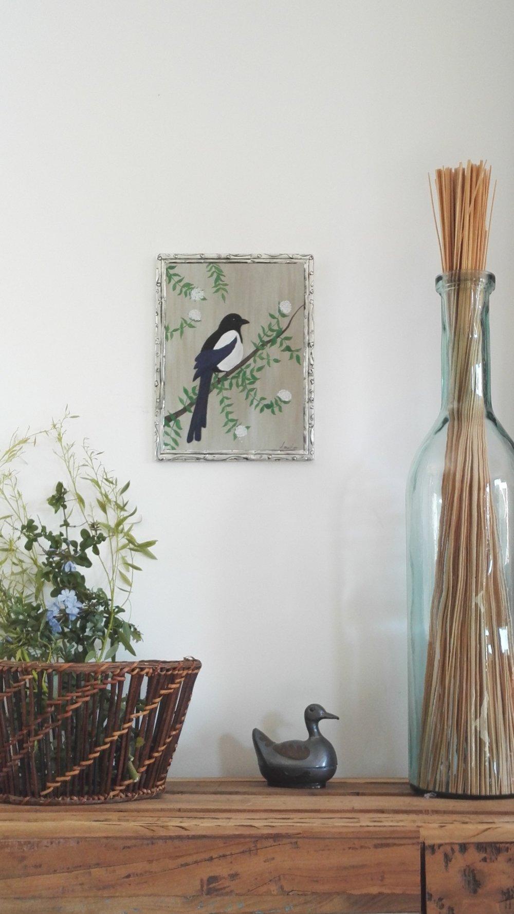 Tableau Peinture Oiseau La Pie Bavarde Sur Bois Et En Cadre Metal Repousse Un Grand Marche