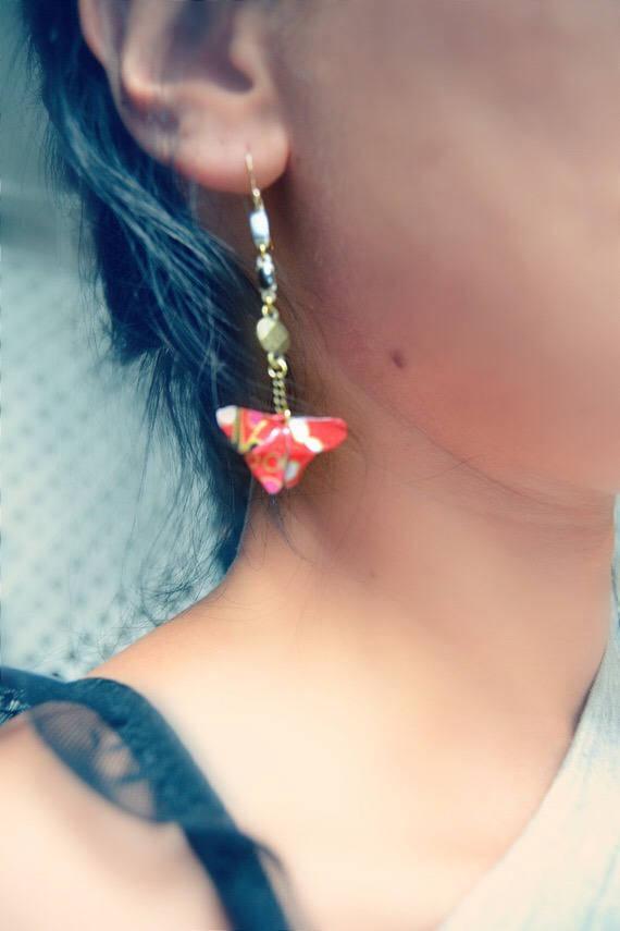 Boucles d'oreilles origami papillons lotus Yuki 雪. Plaqué Or