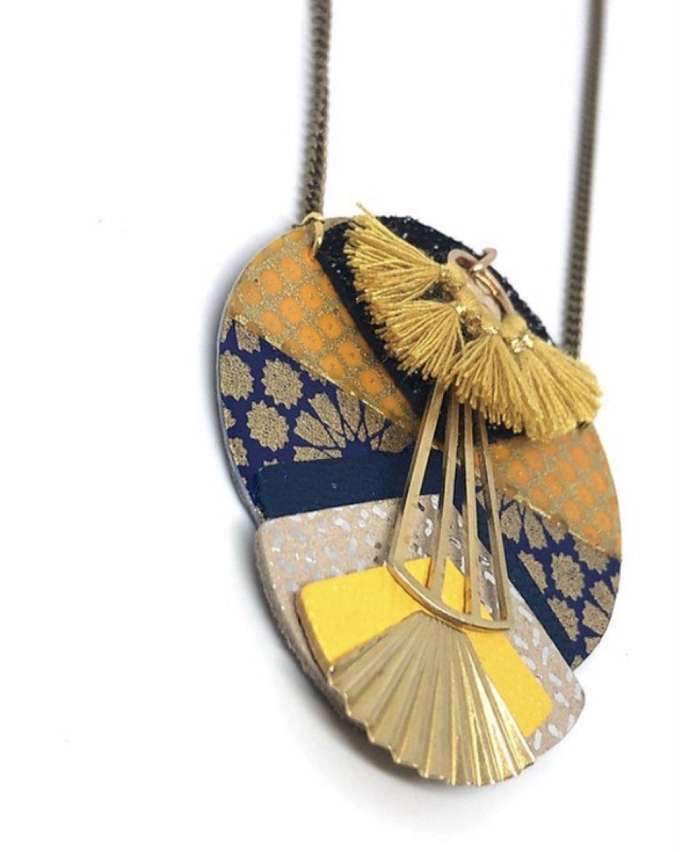 Collier inspiration estampe papiers japonais Hanko Gingko.