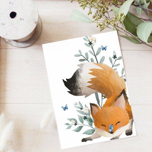 Carte postale renard joueur