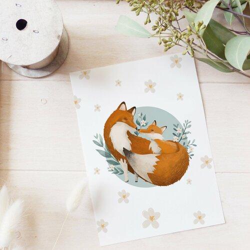 Carte postale maman renarde et renardeau